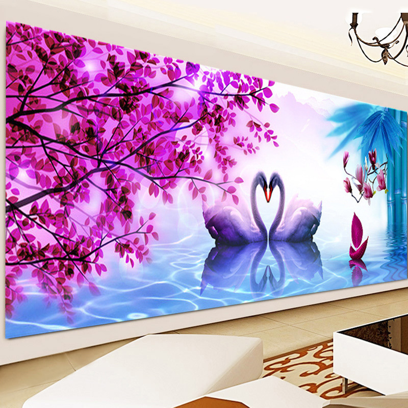 5D DIY Diamond Painting Romantic Swan Lake Lovers Diamond Cross Stitch Kit Diamond Embroidery Diamond Mosaic