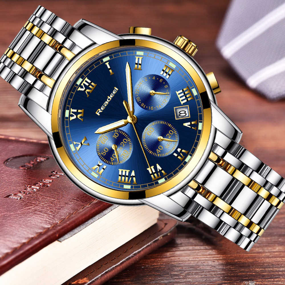 שעון עסקי גברים יוקרה מותג הכרונוגרף גברים ספורט שעון עמיד למים צבאי מלא פלדת קוורץ גברים שעונים Relogio Masculino