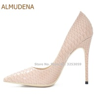 ALMUDENA Newest Top Brand Snakeskin Pointed Toe Pumps Beige Red Black Floral Python Printed 12cm Stiletto High Heels Dress Shoes