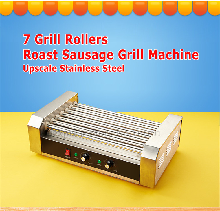 Hot Dog Roller Grilling Machine Stainless Steel Commercial Quality Hotdog Maker with 7 Grill Rollers hot dog grill machine roast sausage grill maker stainless steel hotdog maker cooker with 5 rollers
