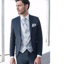 Custom Men's Suits Groom Groomsmen Tuxedos Formal event Suit With Two Buttons ( Jacket+Pants+Vest+Tie ) three Piece