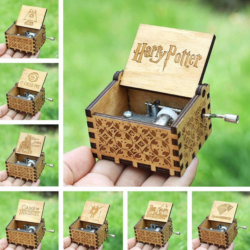 Antique Carved Harry Potter Music Box Game of Thrones Music Box Star War Godfather Wooden Hand Crank Theme Music Caixa De Musica