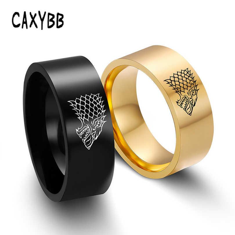 Oro Colore Nero Dell'acciaio inossidabile Degli Uomini D'argento Gioco Anello di Thrones Casa Stark di Grande Inverno Lupo Ghiaccio Uomini Anelli Per Le Donne uomini
