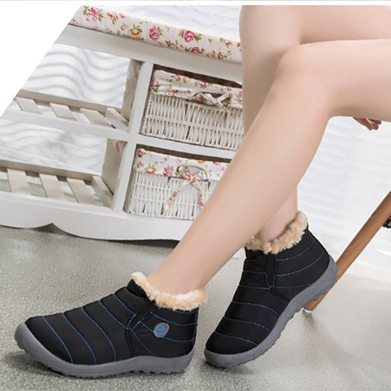 KHTAA Waterproof Female Winter Unisex Ankle Boots Women's Skid Plus Size Snow Boots Warm Plush Couple Style Cotton Casual Shoes