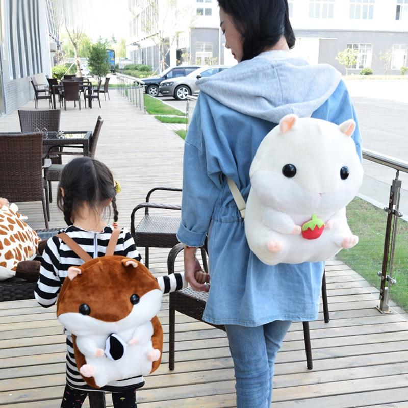 2018 New Cute Children Kids Girl Backpack Schoolbag Gift Plush Hamster Cute for School 88 LT88