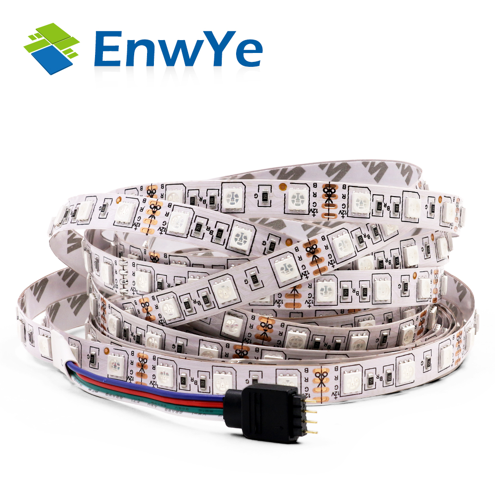 EnwYe LED Strip 5050 DC12V 60LEDs/m 5m/lot waterproof Flexible LED Light RGB 5050 LED StripEnwYe LED Strip 5050 DC12V 60LEDs/m 5m/lot waterproof Flexible LED Light RGB 5050 LED Strip