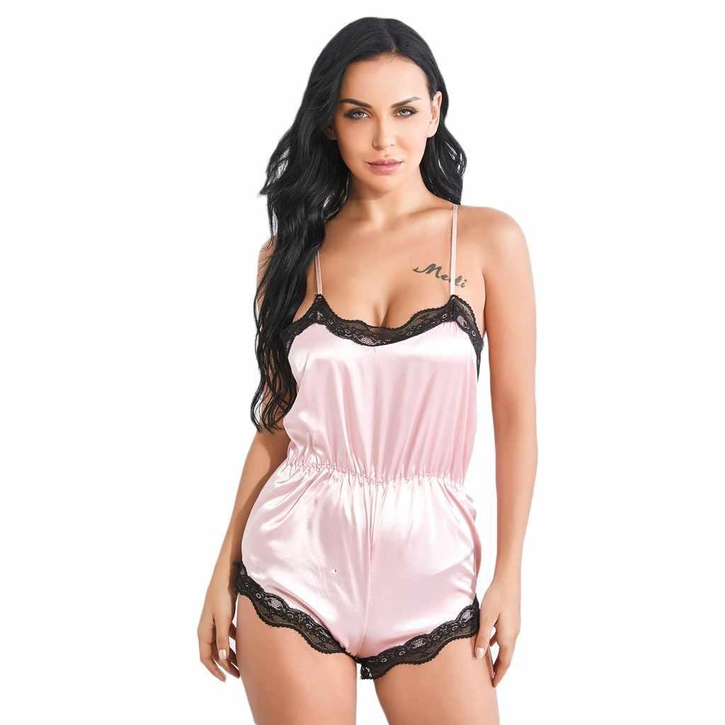 Пижамы «nuisette» боди сексуальный v-образный вырез халат атласный шелк Babydoll кружево повседневное женское нижнее белье-комбинезон Пижамный костюм ночная рубашка 66