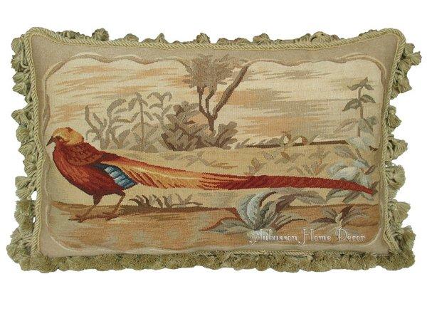 "Vintage French Aubusson Pillow PARROT BIRDS Wool Decorative Cushion 18/"" A PAIR"
