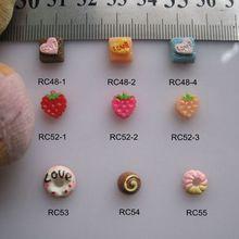RC48-55 30 шт./пакет мультфильм тепла клубничный торт пончики смолы мультфильм деко, нейл-арта украшения для изготовления украшений своими руками