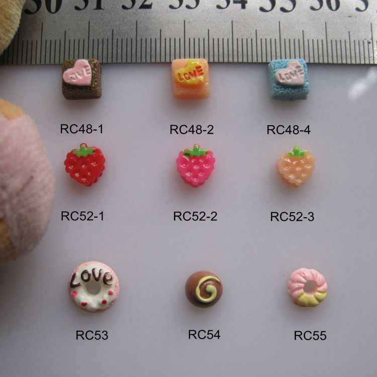 RC48-55 30pcs/bag Cartoon Heat Cake Strawberry Donuts Resin Cartoon Deco Nail Art Decoration Nail DIY Deco