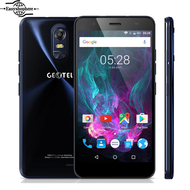5.5 Inch GEOTEL Note 4G Smartphone 3GB RAM 16GB ROM 3200mAh Big Battery Mobile Phone MTK6737 Quad Core 8MP OTA Dual Sim Celular