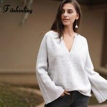 Fitshinling Korean Style Women's Sweaters Winter Pullovers V Neck Flare Sleeve Solid Basic Jumper Knitwear Pull Femme Sweater цена