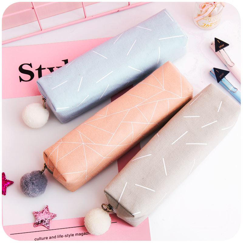 Pencil Case New Concise Solid Color School Pencil Bag For Girls Boys Gift Canvas Pencilcase Kawaii Stationery Office Supplies