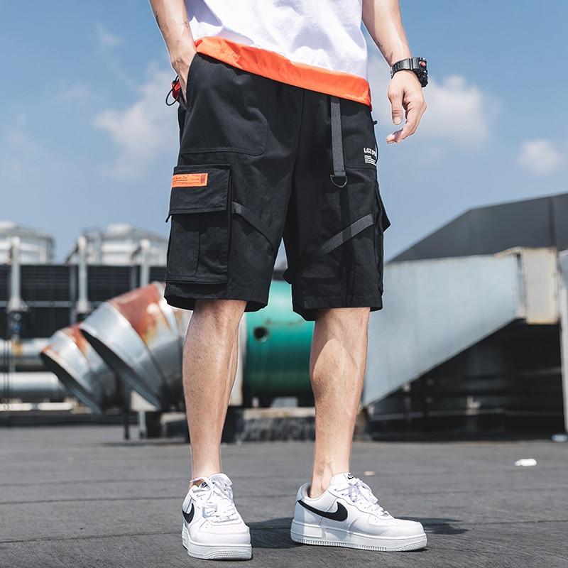 Summer Casual Cargo Shorts Men Cotton Solid Ribbons Pockets Streetwear Mens Shorts Knee Length Bermuda Short Pants Men