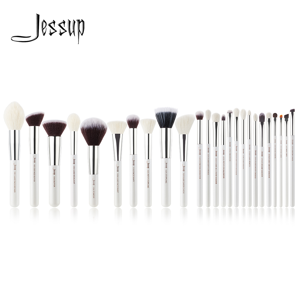Jessup brush set Pearl White/Silver Professional Makeup Brushes Sets Foundation Make up Brush beauty Tool Powder Blushes