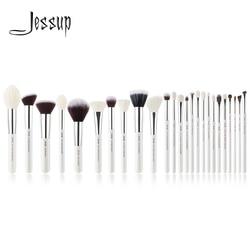 Jessup brush set Pearl White/Silver Professional Makeup Brushes Sets Foundation Make up Brush beauty Tool Powder Blushes