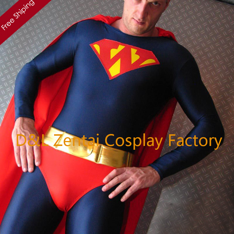 Free Shipping DHL Adult 2015 Super Hero Costume Navy & Red Lycra Spandex Zentai Suit With Red Cloak LS1440