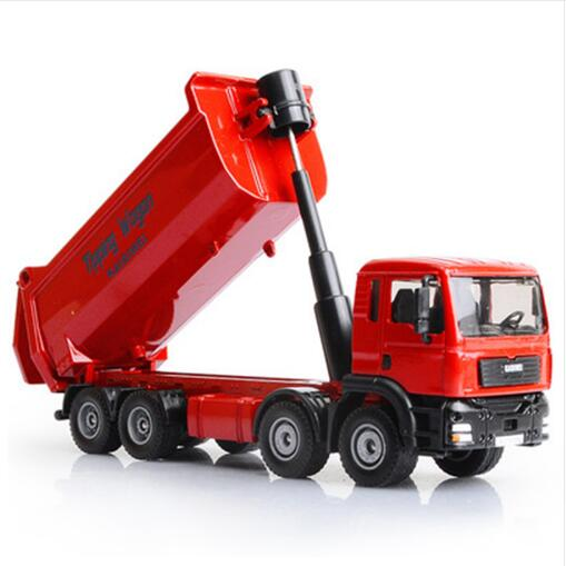 New Alloy Diecast Tipping Wagan Dump Truck 1:50 Engineering Heavy 8 Wheel Vehicle Model Hobby Toys For Kids Christmas Gift