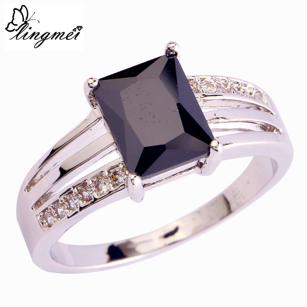 lingmei Wholesale Sexy Black & White CZ Silver Color Ring Size 6 7 8 9 10 11 12 Beautiful Jewelry Party Gift Free Shipping 623R