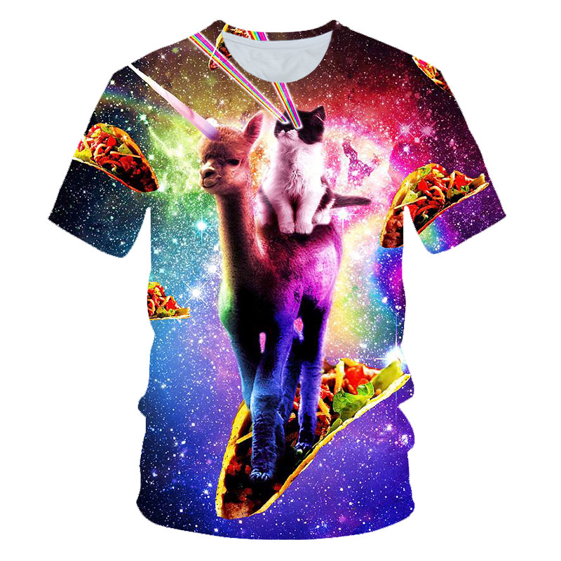 Camel and cat 3DT shirt 2018 men's and women's t-shirts short-sleeved streetwear shorts men's new release T-shirt trend fashion