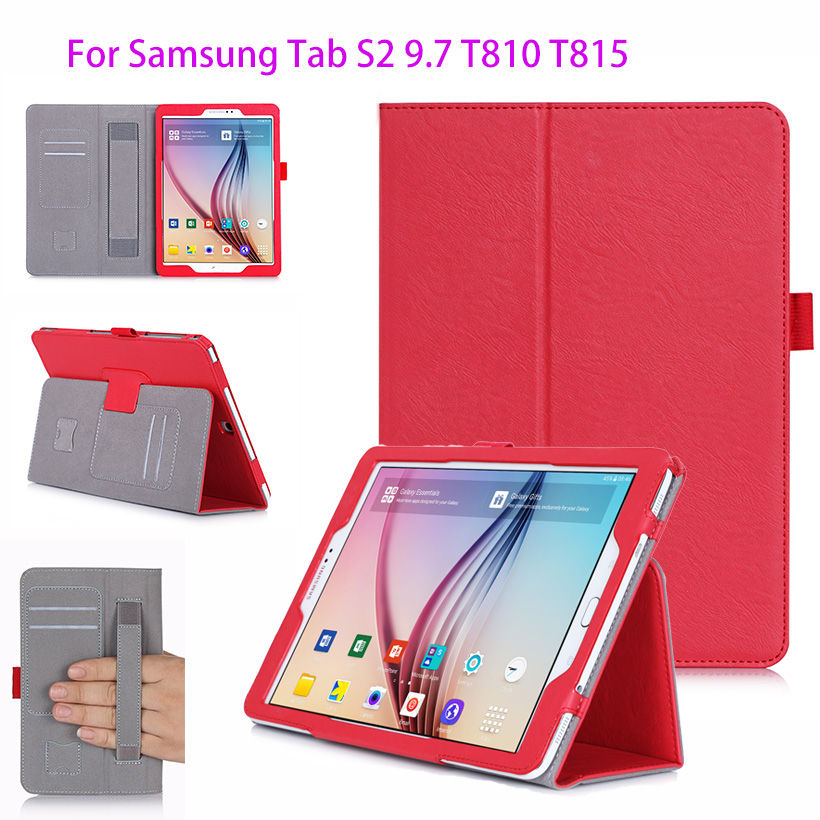 Tab S2 9.7 inch Luxury PU Leather Case For Samsung Galaxy Tab S2 9.7 T810 T815 Case Cover Tablet WIth Hand Holder Business Funda tablet business pu leather stand case cover for samsung galaxy tab 3 10 1 inch p5200 p5220 p5210 with magnetic auto sleep