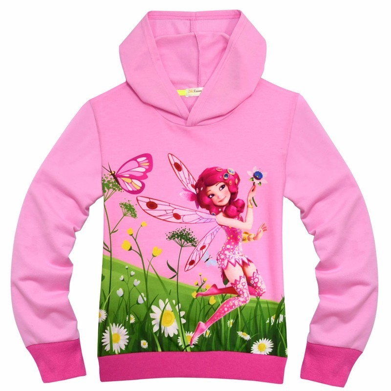 Kids Elf Mia Cosplay Hooded Sweatshirt Girls Spring Autumn Cartoon Printed Butterfly Flower Warm Hoodies For Kids Birthday Gift