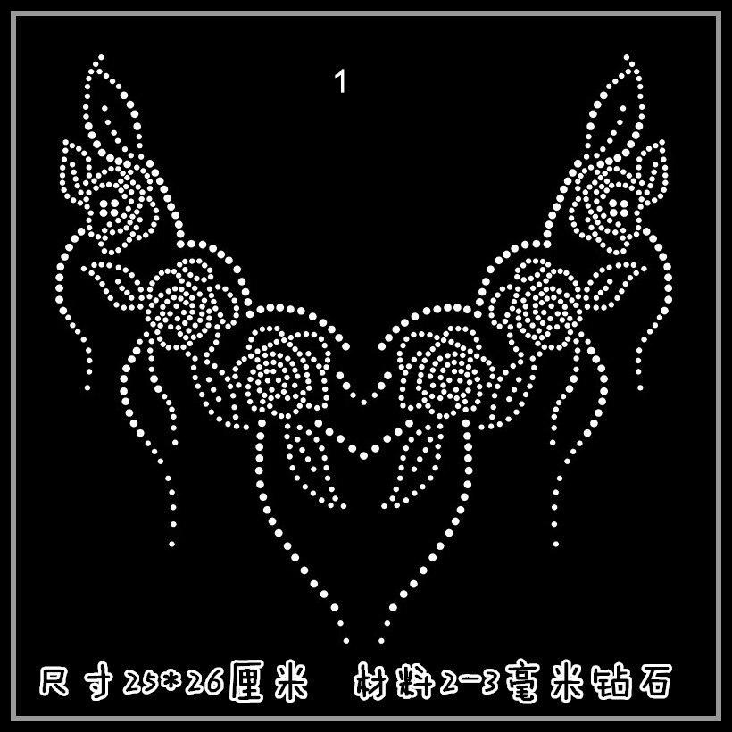 Clear Crystal Flower Tassel T Shirt Neckline Diy Strass