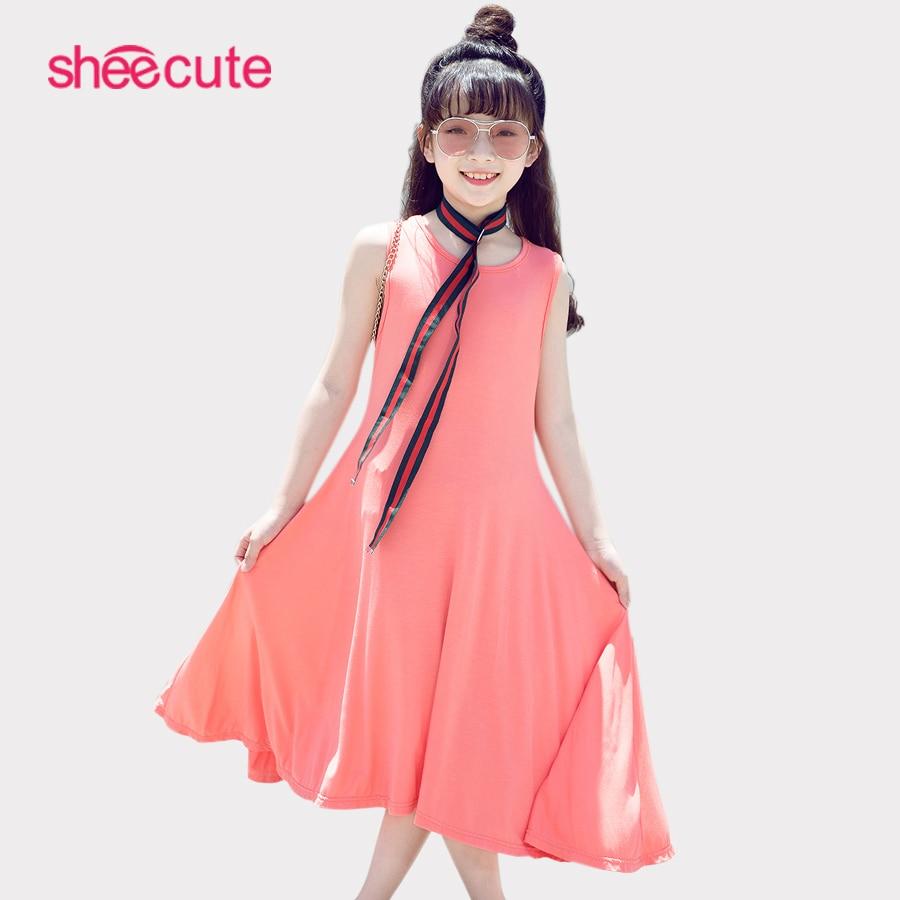 SheeCute Meninas Vestido Sem Mangas Verão Casual A Linha Do Partido Vestidos vestido de praia SDS076