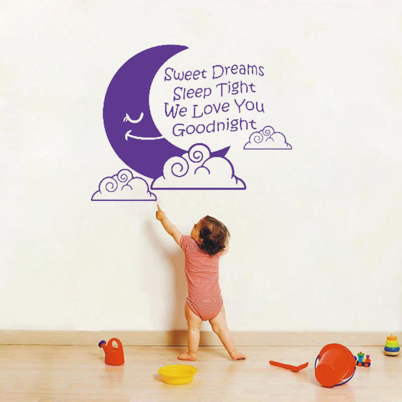 Waterproof and removable vinyl English character letters words sweet dream sleep tight wall sticker wallpaper of home decoration