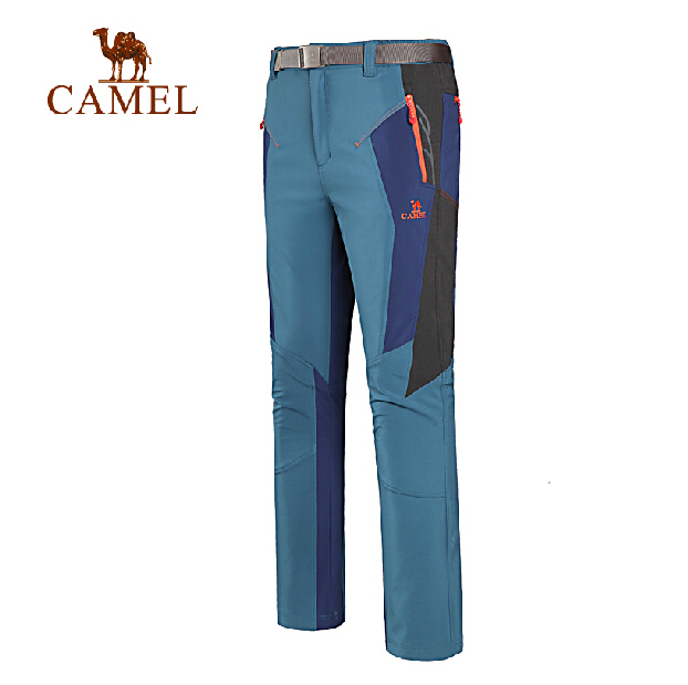 Camel outdoor Men soft shell pants autumn and winter thermal fleece windproof pants soft shell pants hiking pants A5W214128