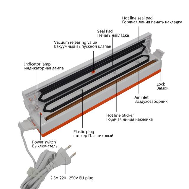 TintonLife 220V Household Food Vacuum Sealer Packaging Machine Film Sealer Vacuum Packer Including 15Pcs Bags