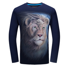 Novelty 3d t Shirt Men 2017 Autumn Cotton Lion King 3D Printed Long Sleeve T-shirt homme Slim Fit Brand Clothing Plus Size 6XL