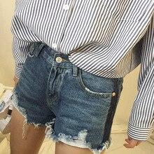 Весной и летом будет все матч тонкие ноги показать неровными краями в высокой талией джинсовые шорты