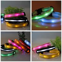 Safety LED Collar Pets Products Dogs Lighted up Nylon Stripe Pattern LED Collar 60*2.5CM