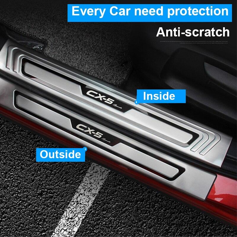 Para mazda CX-5 cx5 2017 2018 2019 guarnição do peitoril da porta do carro placa scuff pedal bem vindo protetor capa de aço inoxidável enterance guarda