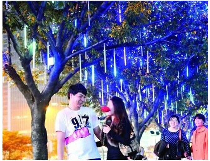 Holiday Sale Christmas Meteor Lights Shower Rain Tubes LED String Light Party Wedding Decoration 50CM 110-220V 3528 EU X 50PCS