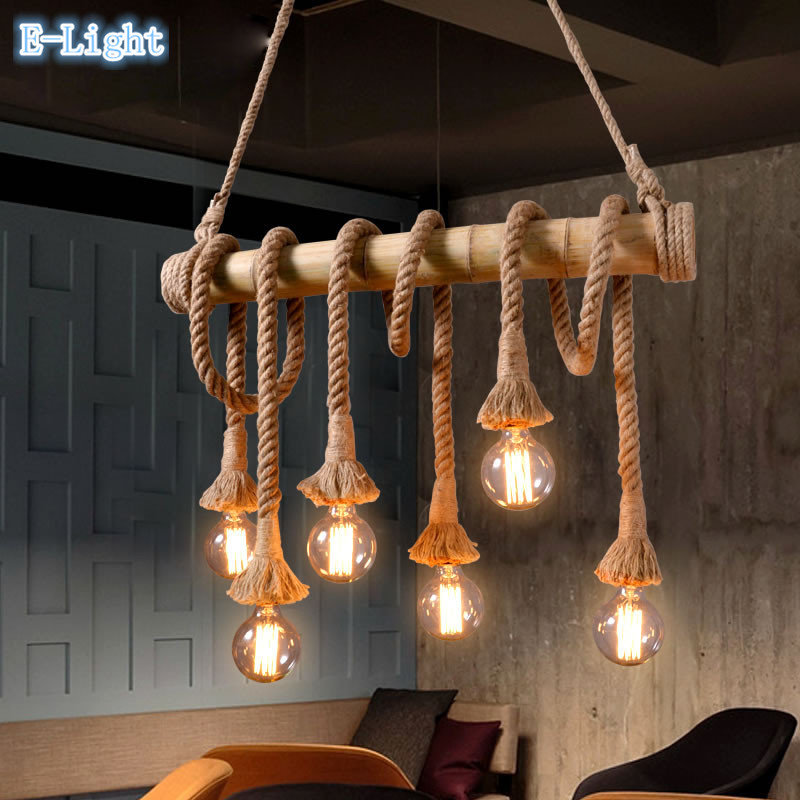 Hanging Lamp Design: Vintage Bamboo Rope Pendant Lights E27 LED 6 Bulbs Loft