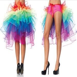 Image 1 - 1 adet kadın tavuskuşu dans eteği gökkuşağı kuyruk telaş etek renkli kadın etekler yaz kabarık gökkuşağı Tutu etek