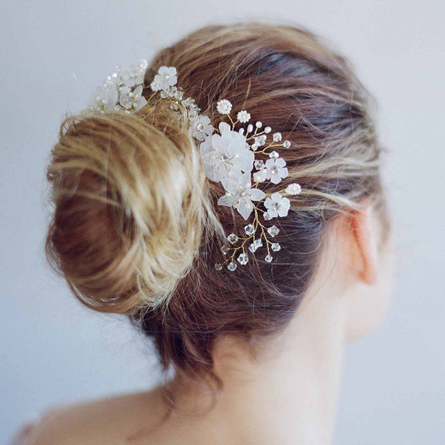 White Flower For Hair Wedding: Handmade Bride Hair Accessories White Flower Pearl Bridal