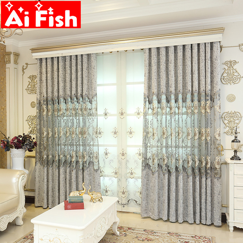 Chenille Hollow Luxury European Curtains Tulle Fabric Living Room Bedroom Balcony Embroidery Curtain Custom Home Decor M018-40