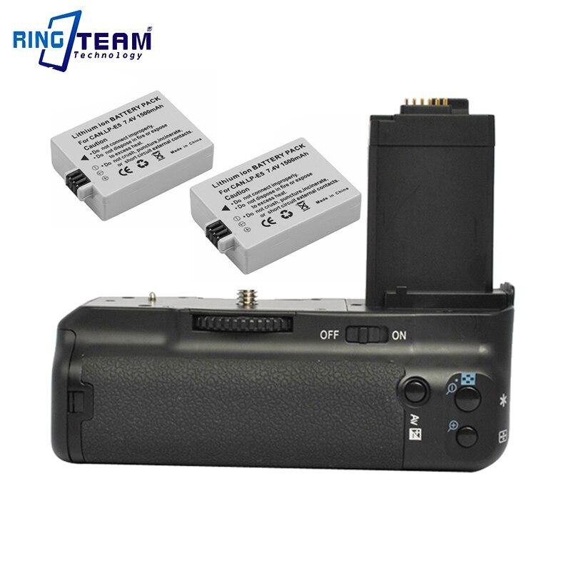 1x Camera Grip BG-E5 + 2x LP-E5 Battery Pack for Canon EOS Rebel XSi XS T1i 450D 500D 1000D Digital Cameras 1500mah lp e5 lpe5 lp e5 li ion battery 2 pack