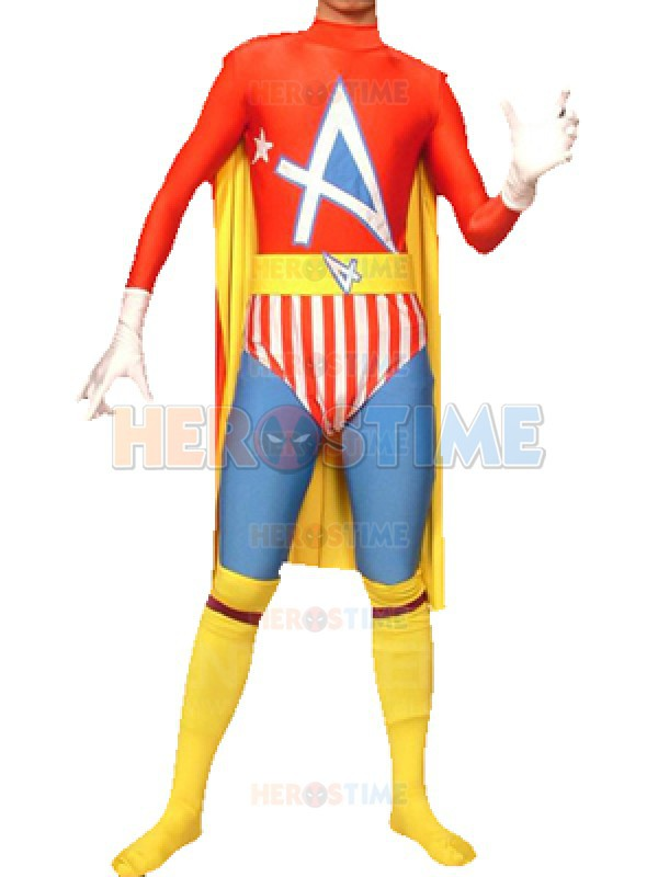 Free Shipping Newest multicolor Spandex Superhero Costume Adult With Cape halloween cosplay party zentai suit hot sale