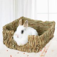 1PC artesanía hierba tejida nido de hamsters pequeño conejo jaula para Hamster casa juguetes plegable cerdo rata erizos cama para chinchillas