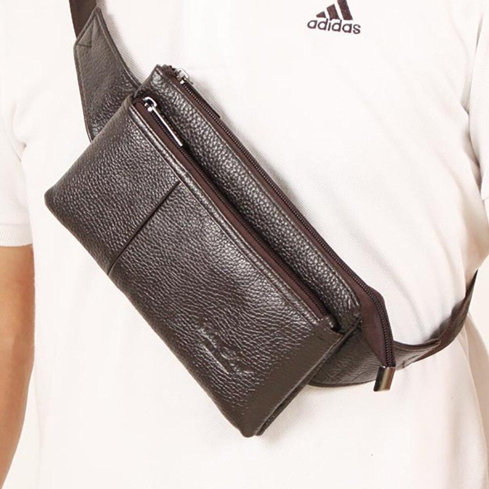 Men Genuine Leather Messenger Sling Chest Day Pack Natural Skin Cowhide Shoulder Crossbody Bag Bum Hip Waist Pack Bag Belt Purse