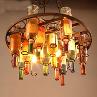 Hanging Lamps Vintage Loft Glass Wine Bottle pendant lamps Round Wine Racks pendant lights dinning room Wine cellar bar