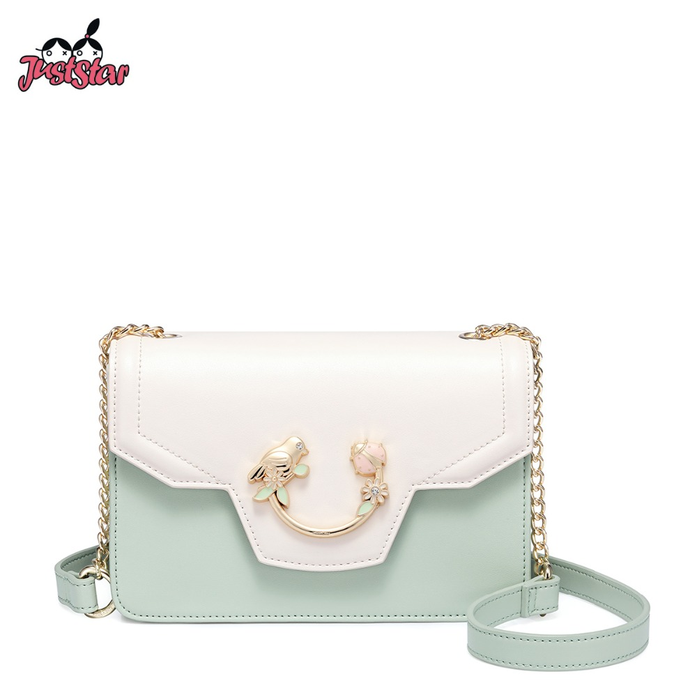 JUST STAR Women s Leather Messenger Bag Ladies Fashion Bird Insect Shoulder Purse Female Chains Flap