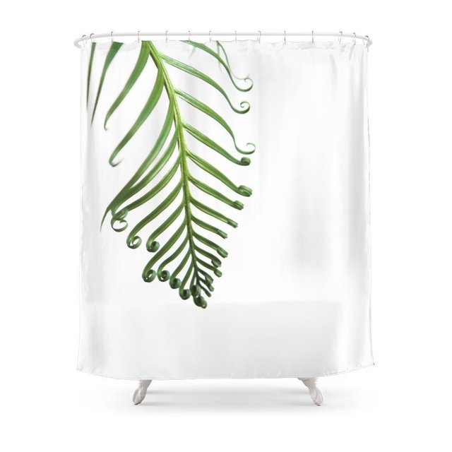 Fern Shower Curtain Set Waterproof Polyester Fabric Bath For Bathroom With Non Slip Floor