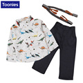 Baby Fashion Suit Kids Clothes 2017 Cute Cartoon Shirt + Suspender Pants Newborn Long Sleeve Baby Boy Casual Gentleman Suit