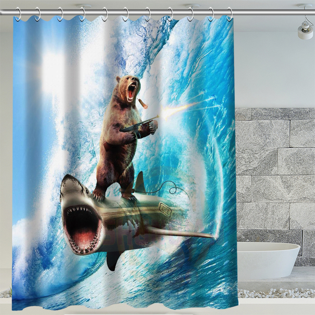 Hot Sale Bear Riding Shark Custom Shower Curtain 3D Waterproof Polyester Fabric Bath 12 Hooks For The Bathroom
