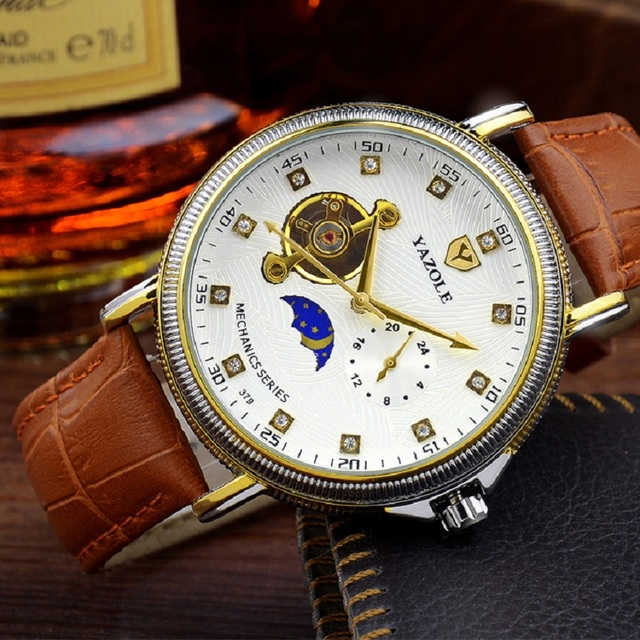 mens mechanical hand wind watches business moon phase top brand rh aliexpress com Wind Up Watches Wind Up Watches
